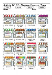 No 92 Shopping Places At Town Esl Worksheet By Andresdomingo