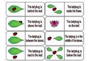 English Worksheet: Where is the Ladybug? Preposition Dominoes Part 2 (64 cards in all with review wheels and bookmarks)