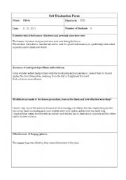English Worksheet: Self evaluation form