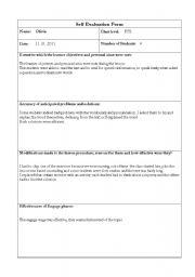 English Worksheets: Self evaluation form
