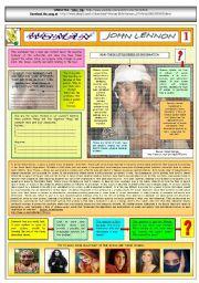 English Worksheets: WOMAN - JOHN LENNON - PART 01 - FULLY  EDITABLE AND FULLY CORRECTABLE
