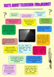 English Worksheets: Facts about television: for&against
