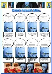 English Worksheets: Megamind and 7 activities (3 pages) -Key included.(4 Elementary and intermediate students)