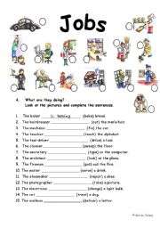 English Worksheets: present progressive with jobs, 2 pages