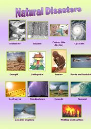 English Worksheet: Natural Disasters + Exercises (FULL EDITABLED)