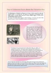 English Worksheet: Top Ten Unknown facts about The Victorian Era Part One, Reading Comprehension