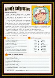 English Worksheets: Alfred�s daily routine