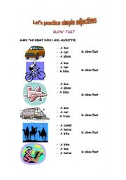 English Worksheets: Fast or slow? Tasty or not?