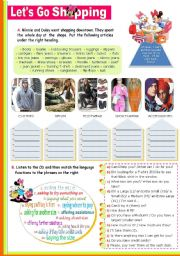 English Worksheet: Let�s go shopping (for clothes/ footwear)  -  a 90-minute class