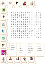 English Worksheets: jobs word search with pictures