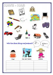 HAVE - HAS (for children or beginners), basic vocabulary (1 page)