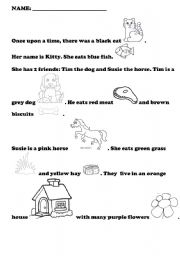 English Worksheet A Cat Named Kitty Very Short Story With Objects To Colour