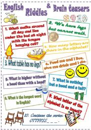 English Worksheet: English Riddles and Brain trainers (4)