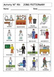English teaching worksheets: Jobs pictionary