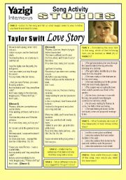 English Worksheet: Song Activity - LOVE STORY (By Taylor Swift) - Stories/Preparation for the Study of Past Continuous