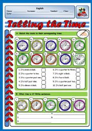 English Worksheet: TELLING THE TIME (2 PAGES)