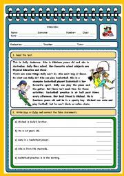 English Worksheets: TEST - TALKING ABOUT ABILITIES (4 PAGES)