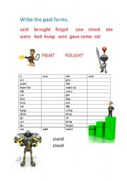 English Worksheets: PAST FORMS