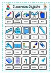English Worksheet: SCHOOL SUPPLIES - CLASSROOM OBJECTS (1) - Pictionary