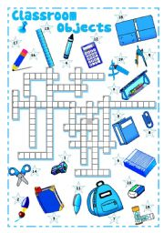 English Worksheet: SCHOOL SUPPLIES, CLASSROOM OBJECTS (2) - Crossword