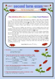 Safety First : ( Children who do not know Chips from Potatoes) 3Rd year Algerian high school Exam.2 pages fully editable.
