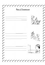 English Worksheet: Means of Entertainment