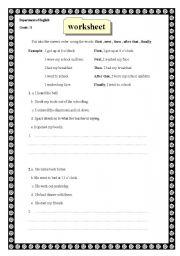 English Worksheets: Ordering ideas( writing)