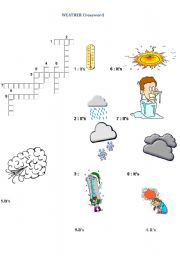 English Worksheet: what�s the weather like ?crossword puzzle