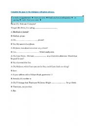 English Worksheet: making a medical appointment
