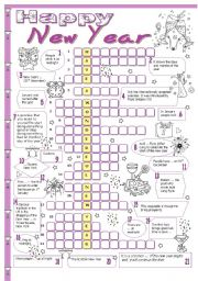 English Worksheet: New Year crossword