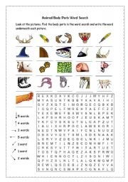 ... Face and body > Body parts wordsearch > Animal body parts word search