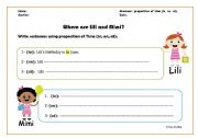 English worksheet: preposition of time (in, on, at)