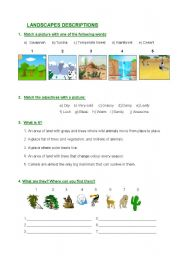 English worksheet: Landscape descriptions