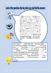 English Worksheets: PRACTISE QUESTION WORDS IN CONTEXT. YOLANDA