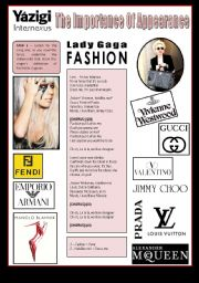 English Worksheet: Song - FASHION (By Lady Gaga) - The Importance Of Appearance