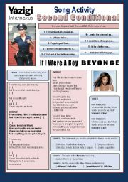 English Worksheet: Song - IF I WERE A BOY (By Beyoncé) - Second Conditional