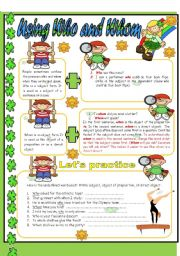 English Worksheets: Using Who and Whom - Editable w/ Answer key