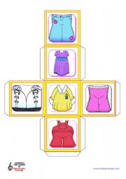 English Worksheet: Basic Clothes Dice
