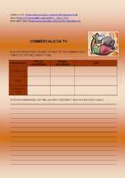 English Worksheet: Video activity - TV Commercials - The Power of Advertising