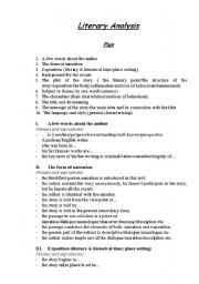 English Worksheets: Lyterary Analysis (analytical reading of a peace of literature)