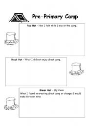English Worksheets: Camp Thinking Hats reflection