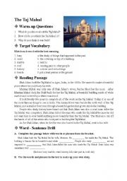 English Worksheet: Places of Interest - the Taj Mahal - reading