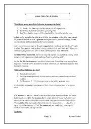 English Worksheets: Fact & Opinion