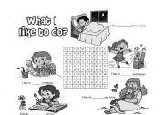 English worksheet: What I like to do?