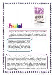 English Worksheets: Freaks! Reading comprehension + Key