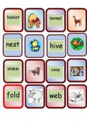 English Worksheet: card game animal homes
