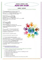 English Worksheets: HOLD MY HAND - lyrics and discussion points with project ideas
