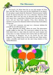 English Worksheet: the Dinosaurs