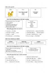 English worksheet: Homophonic words:two/too/to and they´re,their and there