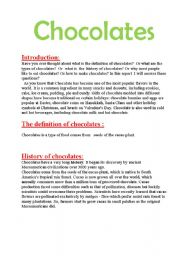 English Worksheets: Report about chocolate